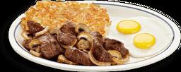 Carne Sirloin Tips & Eggs