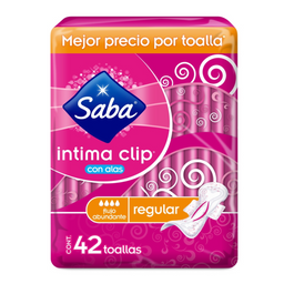Saba Toallas Femeninas  Intima Clip Regular Con Alas