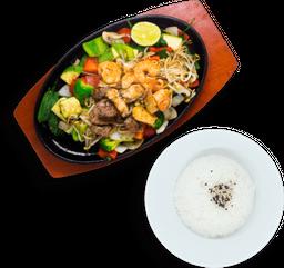 Teppanyaki Pollo + Arroz Gohan