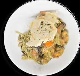 Pasta Pesto con Camarones