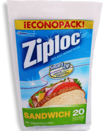 Bolsas Herméticas Ziploc Para Sandwich 20 U