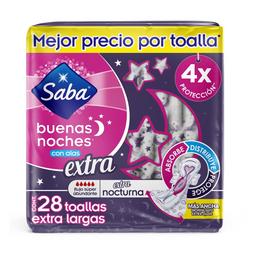 Toallas Femeninas Saba Buenas Noches Extra con Alas 28 pzas