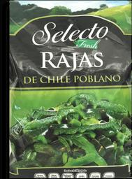 Rajas Chile Poblano Selecto Congeladas 500 g
