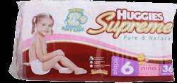 Pañales Huggies Supreme Pure & Natural Etapa 6 Niña 36 U