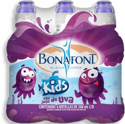 Agua Saborizada Bonafont Kids Sabor Uva Botella 300 mL x 6