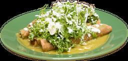 Tacos Dorados de Papa Ahogados en Pipián Verde