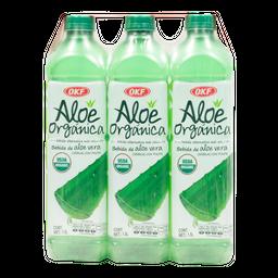 Agua Saborizada OKF de Aloe Vera Con Pulpa Orgánica 1.5 L x 3 U
