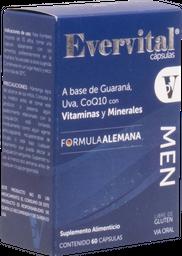 Guarana  Uva Co Q10 60 Capsulas Evervital Men
