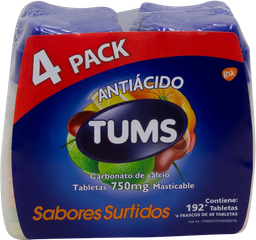 Antiácido Tums Carbonato De Calcio 750 mg X 192 U