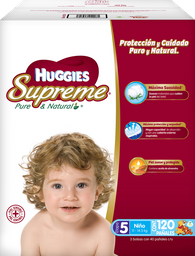 Pañales Huggies Supreme Pure & Natural Etapa 5 Niño 120 U