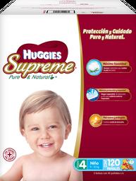Pañal Huggies Supreme Pure & Natural Etapa 4 Niño 120 U