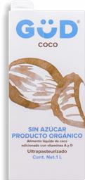 Alimento Líquido Gud de Coco Orgánico sin Azúcar 1 L