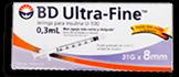 Jeringa BD Ultra Fine Insulina 0.3 mL 10 U
