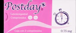 Patilla Del Día Después Postday 0.75 mg 2 Comprimidos