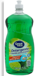 Detergente líquido Great Value para trastes aroma limón 1.5 l