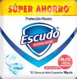 Jabón Escudo Neutro Antibacterial de Tocador Barra 110 g x 3
