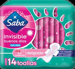 Toalla Femenina Saba Invisible Delgada Con Alas 14 U