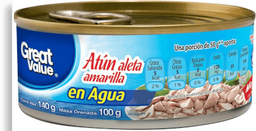 Atún Great Value Aleta Amarilla En Agua 140 g