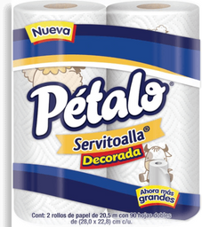Servitoalla Pétalo decorada 1 paquete con 2 rollos