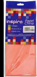 Papel china Inspira color rojo 3 pliegos