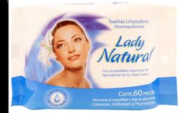 Toallitas desmaquillantes Lady Natural 1 paquete con 60 pzas