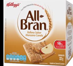 Barra de Cereal All Bran Rellenas Sabor Manzana Canela 222 g