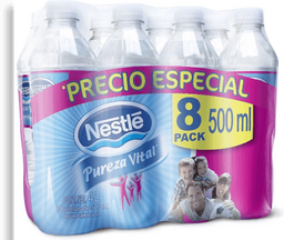 Agua Pureza Vital Natural Botella 500 mL x 8