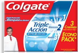 Pasta dental Colgate triple acción extra blancura  90 ml x 3 U