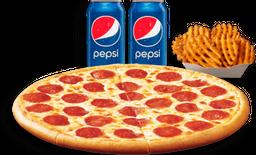 Pizza Grande + Papas y 2 Refrescos