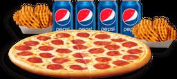 Pizza Familiar + Papas y Refrescos