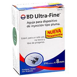 Aguja BD Ultra Fine Tipo Pluma 31 g x 8 mm 10 U