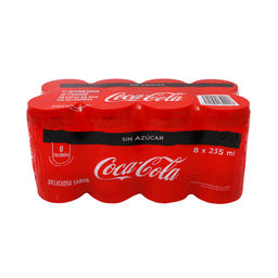 Refresco Coca-Cola Sin Azúcar Lata 235 mL x 8