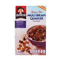 Cereal Quaker Multibran Con Pasas 420 g