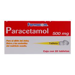 Paracetamol Farmacom 20 Tabletas (500 mg)