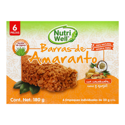 Barra NutriWell Amaranto Cacahuate Coco y Ajonjolí 6 U