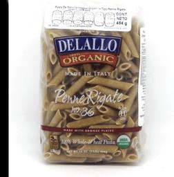 Pasta Delallo Penne Rigate Semola integral Orgánico 454 g