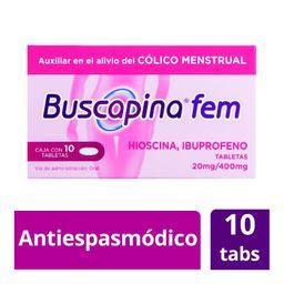 Buscapina Fem10 Tabletas (20 mg/400 mg) Cólicos Menstruales