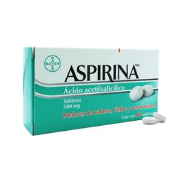 Aspirina Adultos 40 Tabletas Ácido acetilsalicílico 500 mg