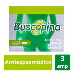 Buscapina 3 Ampolletas (20 mg) Antiespasmódico