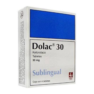 Dolac Sublingual 4 Tabletas Caja Ketorolaco trometamina 30 mg