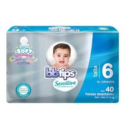 Pañal Bbtips Sensitive Talla-6 40 U