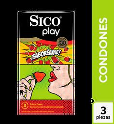 Condones Sico Tropical Sabores Plátano,Fresa,Naranja 3 U