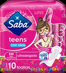 Toallas Femeninas Saba Teens Ultradelgada Con Alas 10 U