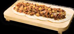 Tacos de Arrachera, Chorizo y Cebolla