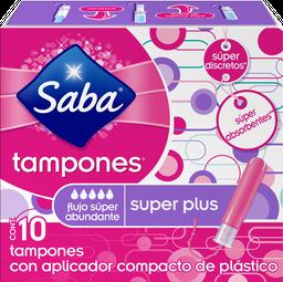 Tampón Saba Súper Plus Flujo Súper Abundante 10 U