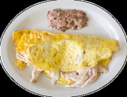 Omelette de pollo con champiñones