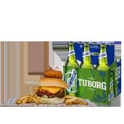 2 Rappi Burgers + 6 Pack Tuborg GRATIS!