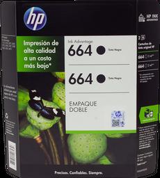 Tinta Hewlett Packard en Cartucho 664 Negro 2 U