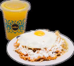 Chilaquiles Peltre + Jugo de Naranja