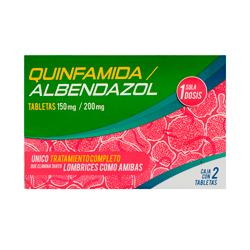Quinfamida  Albendazol 150200Mg 2Tab 1 U